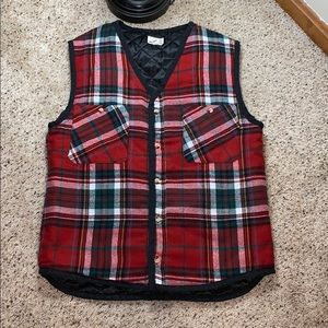 Urban Renewal Quilted Plaid Button Down Vest- S